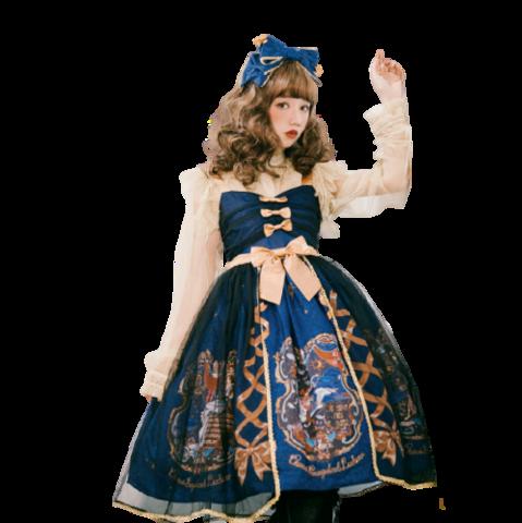 CEL洋装设计 Lolita洛丽塔 古典 天鹅梦 女士JSK无袖连衣裙 II型黑纱款 深蓝色 M 549元