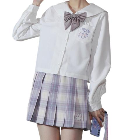 小乔酱 软萌兔联名款 JK制服 西式制服 女士长袖衬衫 奶白 S 98元