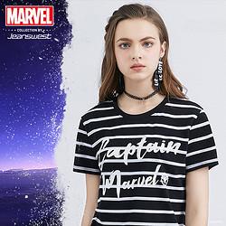 Jeanswest 真维斯 漫威联名 惊奇队长 女士圆领短袖T恤 19.9元包邮(需用券)