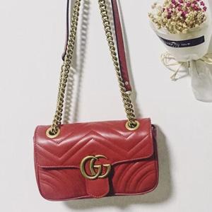 红色补!Gucci Mini GG 2.0 Matelassé链条包 售价$1980