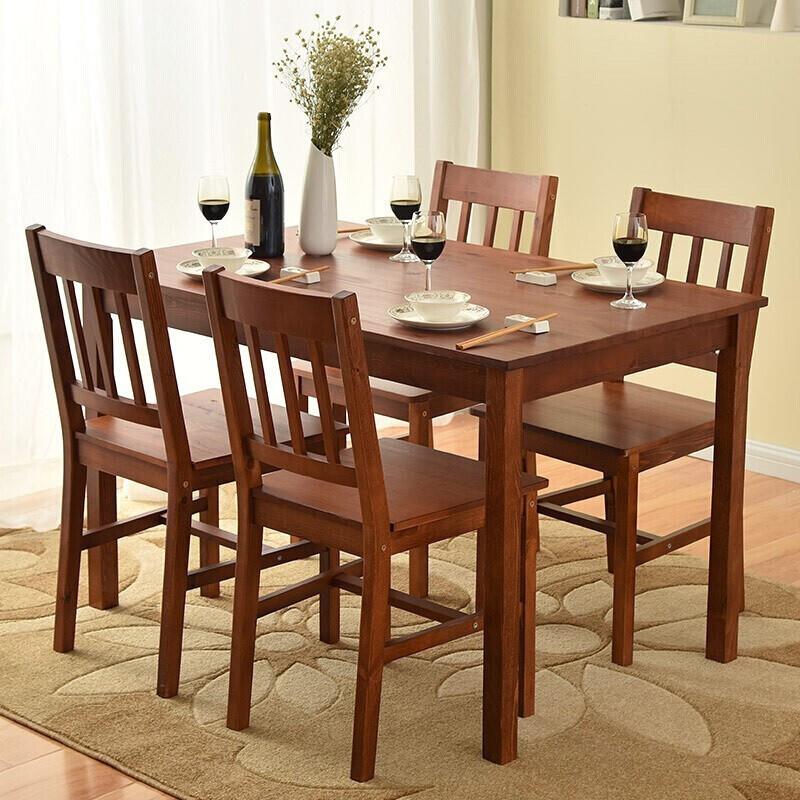 JIAYI 家逸 现代简约松木餐桌椅组合 一桌四椅 959元包邮(双重优惠)