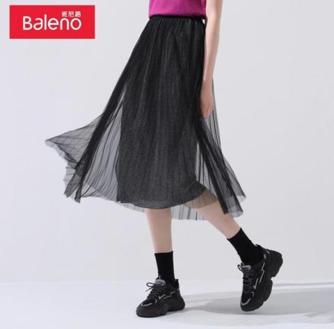 Baleno 班尼路 88008920 女中长款薄款黑色宽松百褶裙 *2件 154.89元包邮(需用券,合77.45元/件)