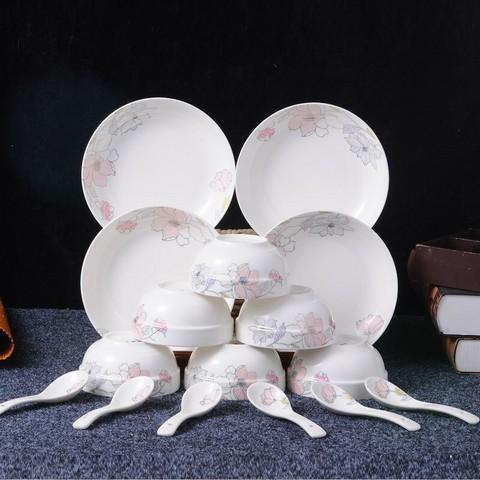 洁雅杰 陶瓷碗盘套装16头 *3件 104元包邮(合34.67元/件)