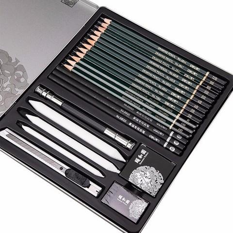 deli 得力 颐和园系列 素描铅笔套装 铁盒装22件 29元包邮(需用券)