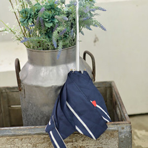 W.P.C 防晒防紫外线轻量折叠遮阳伞 条纹心形刺绣 藏蓝色50cm 凑单到手约¥131.07