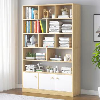 亿家达 多层书架 北美原木纹色+暖白柜门 174.1元