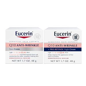 Eucerin优色林 Q10 舒缓紧肤抗皱保湿日霜+晚霜套装 48g*2 到手约¥124.51