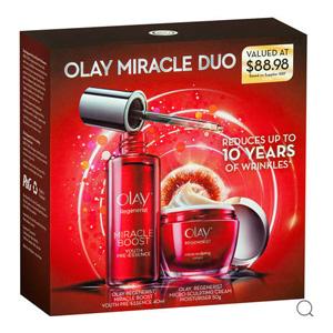 预售!Olay 限量版 大红瓶新生塑颜面霜50g+奇迹赋能肌底液精华40ml套装 折后到手AU$49.95(约¥249)