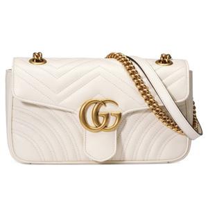 补货!Gucci GG Matelassé小号链条包 白色 售价$2250