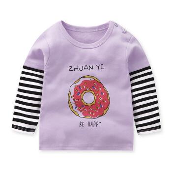 秋季童装新款儿童打底衫男女童长袖T恤拼接儿童上衣小孩衣服 C紫色甜甜圈 73cm 15.9元
