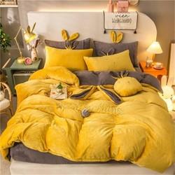 棉朵家纺 姜黄 水晶宝宝绒床上用品四件套 1.5m床 169元包邮