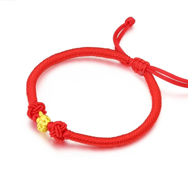 老庙黄金 五福鼠吊坠 红绳手链 99元包邮