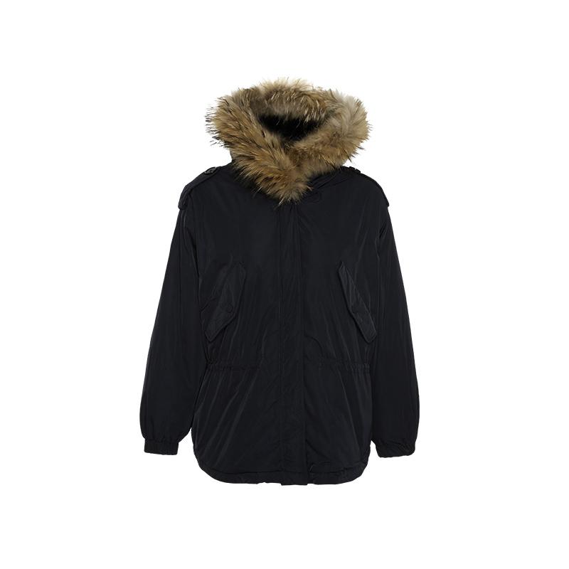 热风 F12W8408 女士收腰毛领连帽羽绒服 299.7元包邮(立减)