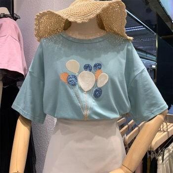 WEIMIYA 薇靡雅 重工刺绣亮片热气球短袖T恤 29.9元(需用券)