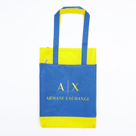 ARMANI 阿玛尼 拼色英文logo印花购物袋 51元