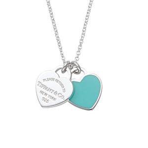 Tiffany & Co蒂芙尼 蓝色珐琅双心吊坠项链