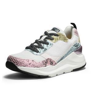 斯凯奇女鞋子个性潮流活力彩色撞色蛇纹户外网面女运动休闲鞋子